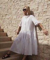 Cecilie Bahnsen Billowy Tiered Cotton Pleated Skirt Dress 6 Primrose Oversized