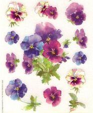 Miss Elizabeth Vellum stickers - Pansies, one sheet.