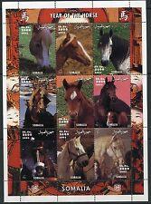 SOMALIA 2002 YEAR OF THE HORSE   SHEET OF NINE  MINT  NH