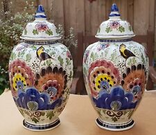 2xAntique Dutch Delft porcelain Urn Ginger Jar Vase Coloured Hand-painted 12.6""