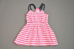 Gymboree Pink, White, Navy Striped Rope Strap Dress, Size 4