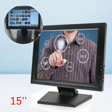 15 INCH 1024X768 LCD LED VGA HDMI Stand Touch Screen Monitor POS+Power Adapter