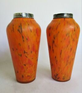 Beautiful Pair of Art Nouveaux Orange Mottled Glass Vases with Silver Collars