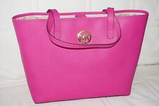 MICHAEL KORS MK Large Size Jet Set Tote Handbag in Fuschia Pink Saffiano Leather