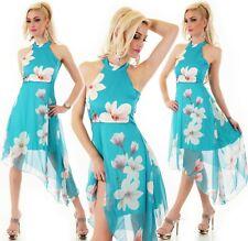 Italy Vestido de Mujer Asimétrico Magnolia Flores Fiesta Verano Chifón Turquesa