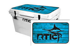 24mil Wrap for RTIC  45qt Cooler LID KIT Skin Accessory RTIC Marlin Blue Wood