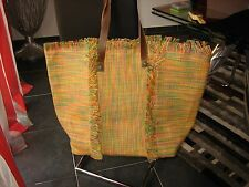 ARTICLE RARE GRAND SAC BIG BAG TOILE DE JUTE ANSES EN CUIR SAVE THE QUEEN neuf