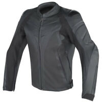 Dainese Men's Fighter Perforated Leather Motorcycle Jacket Black Size 50 EU