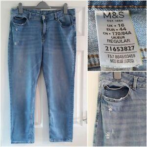 M&S Medium Blue Denim Jeans Size 16 Ripped Distressed Slim Casual Pockets