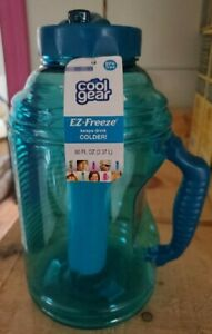 NEW 63 oz EZ Freeze Water Bottle w// Handle Straw Ice Pack blue color