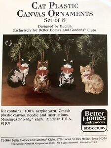 Set of 8 Better Homes and Gardens Bucilla Cat Plastic Canvas Ornaments Kit