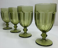 Set 4 Vtg Libbey Duratuff Gibralter Olive Green Glass Water Tea Goblet 16oz EUC