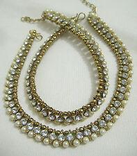 Designer Indian Antique Gold Plated Stones Pearls Kundans Payals /Anklets Set