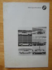 BMW 1986 Product Information Specs brochure for USA - 735i 635CSi 3 & 5 Series