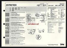 FICHE TECHNIQUE VOLVO 242 244 245  modele 1974-78  DATA SHEET 1979 *  RARE !!