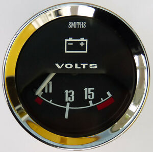 Smiths Classic Car Voltmeter Gauge Chrome Bezel & Black Face for MG Mini Triumph
