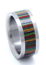 Titanium Ring With Rainbow Dymond Wood Inlay - FREE Ring Box