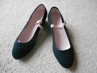 Black canvas cuban heel regulation character dance shoes - assorted sizes
