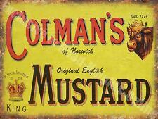 Vintage Food, 94, Colman's English Mustard, Butcher Shop, Small Metal Tin Sign