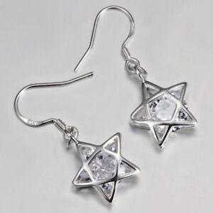 Pentagram Earrings, Star Earrings, Sterling Silver Ear Hooks. Pagan Wiccan Witch