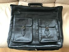 Quality Black Leather Suit & Clothes Travel Carrier - Multiple Zipped Pockets
