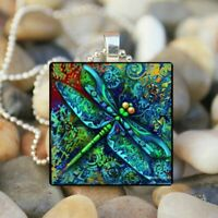 Damen Vintage Halskette Libelle Eule Anhänger Glas Modeschmuck Geschenk Kette