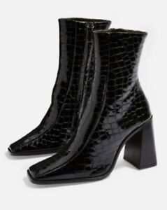 Topshop Hurricane Croc Black Patent Leather Boots Size 3/36 Brand New