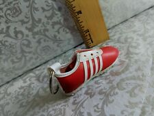 Mini Red shoe stripes athletic soccer Faux leather  KEY CHAIN RING FOB Vintage