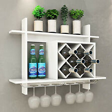 Wall Mounted White Wine Rack Glass Champagne 6-Bottles Storage Display Holder