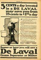 1921 Print Ad of De Laval No 15 Dairy Cream Separator Milker