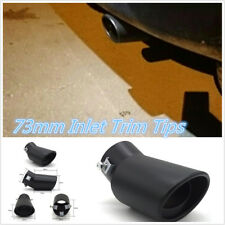 Blk Titanium Bend Car Exhaust Pipe 73mm Tips Muffler Stainless Steel Tail Throat