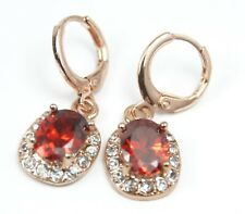 Women's Rose Gold Plated Red Crystal drop dangle Earrings
