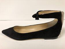 Ivanka Trump Tramory Women's Flats Ankle Strap Black Suede 6 M