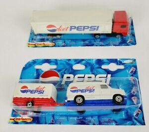 Majorette Pepsi Diet Pepsi Tractor Trailer Semi Truck & Diet Pepsi Van & Trailer