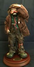 """Emmett Kelly Jr Flambro #1532 Looking Out To See 2 """"Real Rags"""" Collection & Base"""
