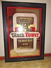 New listing Vintage Imported Black Tower Mirror Sign - The White Wine In The Black Bottle