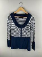 Marco Polo Women's Navy & White Stripe Long Sleeve Zip Up Cardigan Size Medium
