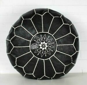 MOROCCAN LEATHER POUF, BLACK AND WHITE  Pouf Leather Ottoman Footstool Pouf