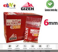 KIT 1500 x  Filtri Gizeh Slim 6mm con Striscia Comata - 10 Bustine Da 150 Filtri