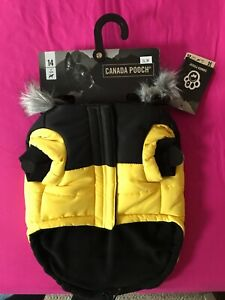 NEW WITH TAGS CANADA POOCH YELLOW AND BLACK SIZE 14INCH DOG COAT/PARKA