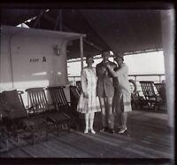 STEREO Voyage en Egypte Paquebot Bateau c1930 Photo Stereo Plaque Verre NEGATIVE