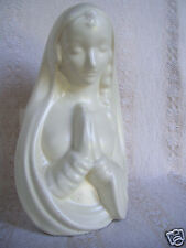 """Mary Holy Mother Of Baby Jesus Clasp Hands 9"""" Tall Nativity Flowers Vase Planter"""