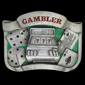 Gambler Gambling Casino Lucky Dice Cards 21 Poker Slots 92 Vintage Belt Buckle