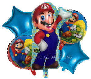 5 PCS MARIO BALLOON BOUQUET -  FREE DELIVERY - SAME DAY DISPATCH - UK SELLER