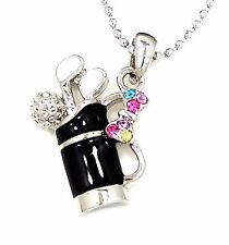 "NEW GOLF CLUB BAG BALL CRYSTAL SILVER CHARM PENDANT 17"" NECKLACE BLACK"