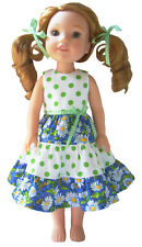 """Lime Polka Dot Mixed Print Tiered Dress fits 14.5"""" WELLIE WISHERS Doll Clothes"""