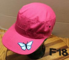 WOMENS IMAGIN8 PINK CADET/MILITARY STYLE HAT PINK WITH BUTTERFLY ON BILL VGC F18