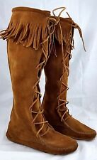 Minnetonka Moccasin 1422 Knee High Front Lace Fringe Boots Women's US 7