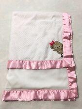 Carters Just One You Pink Polka Dot Monkey Bow Baby Blanket Fleece Back