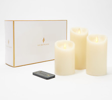 """Set of (3) Luminara 4"""", 5"""" & 6"""" Flameless Candles in Gift Box + Remote - IVORY"""